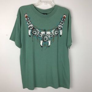 Boho Graphic Shirt Feathers and Beads